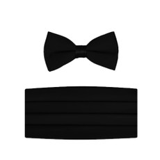 New Black Bow Tie and Cummerbund Set