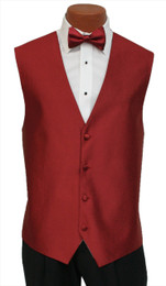 "Red Sleeve ""Reflection"" Vest and Striped Bow Tie in Ruby"