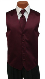 Solid Satin Vest and Tie Set in Burgundy