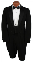 Black 6 Button Peak Lapel Tailcoat Jacket