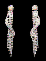 Shimmering Iridescent Rhinestone Dangle Earrings #CD-6914AB