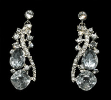 Clear Crystal Jeweled Earrings Cristal D'Or #6886CR