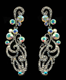 Elegant Swirl Iridescent Accent Earring Cristal D'Or #6815
