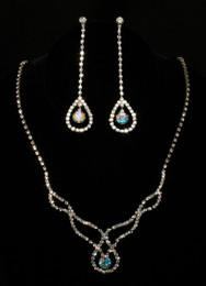 Elegant Iridescent (AB - Aurora Borealis) Necklace & Earring Set #CD-6877