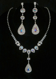 Long Teardrop Iridescent Crystal Rhinestone Necklace and Earring Set Cristal D'Or #6725