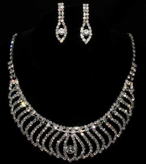 Clear Crystal Statement Necklace & Earring Set Cristal D'Or #6956CR