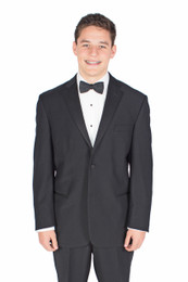Prom Tuxedo - Classic Black 100% Wool Tuxedo Jacket and Pants with Black Bow Tie and Cummerbund