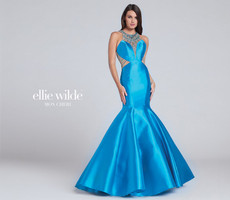 Ellie Wilde EW117059 Turquoise Mikado Mermaid Dress