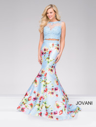 Jovani 49989 Blue Floral Print 2 Piece Mermaid Dress