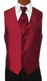 Red Spectrum Vest with Sharpei Long Tie