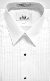 "New Traditional White 1/4"" Pleat Laydown Collar Tuxedo Shirt"