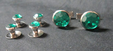 Emerald Green and Silver Stud and Cufflink Set