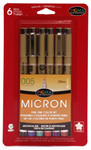 432001, Pigma Micron Pen Set, Assorted, 005, 6/pens