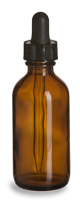 2 oz. Amber glass bottle with dropper top