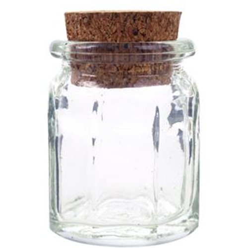 1.2 oz. octagon glass jar with cork lid
