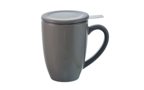 KASSEL Perfect for steeping loose leaf tea, the stainless steel infuser sits on top of the mug with a handle over the side, allowing you to easily remove the infuser when your tea is at its desired strength. The ceramic lid will keep your tea warm while steeping and doubles as a coaster for your infuser when your tea is ready.  FEATURES 330ml/11.2 fl. oz capacity 18-8 stainless steel infuser Includes ceramic tea mug & lid, and stainless steel infuser