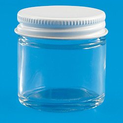1 oz. Clear glass jar w/ metal lid (white or black)
