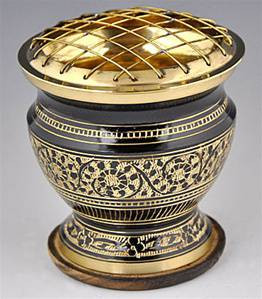 Carved Brass Charcoal Burner, 3 in.