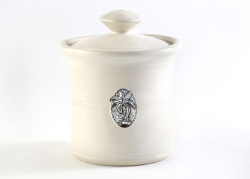 Garlic Pot; Tree, Cream glaze