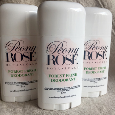 Peony Rose Botanicals Deodorant Stick in Forest Fresh Fragrance, Complements the Wulfslaird line of fragrance and shaving products, with natural essential oils of bergamot, cedar, vetiver and fir.    Chemical Free, Aluminum Free, Peony Rose Botanicqls, Forest Fresh, Natural Deodorant Stick keeps you smelling fresh and odor free for up to 24 hours.  This formula glides on with a silky smooth invisible, texture. Never sticky or clumpy.  Contains Aloe Vera Liquid, Citric Acid, Sodium Bicarbonate, Coconut Oil, Arrowroot Powder, Water, Sodium Stearate, Saccharomyces Ferment (pro-biotic), and organic essential oils of Bergamot, Cedar, Vetiver, and Fir...  Nothing else!