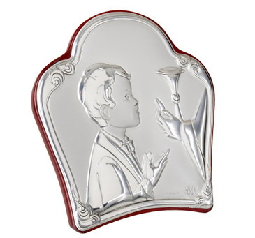 Silver first communion boy Religious Icon