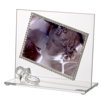 Italian Baby Photo Frame with Swarovski Crystal border and Crystal Pacifier
