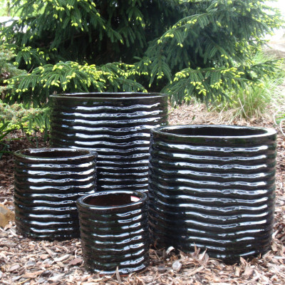 Black Round Ceramic Pots