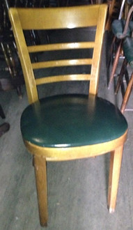 WOOD CHAIR WITH GREEN VINYL SEAT
