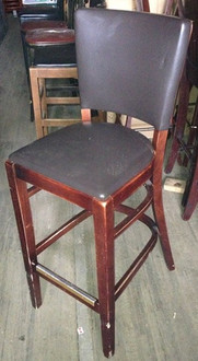 WOODEN BAR STOOL WITH PADDED SEAT