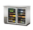 """New-True Back Bar Cooler, two-section, 24"""" deep, 35-7/8"""" high, (48) 6-packs or (2) 1/2 keg capacity, (4) wire shelves, condensing unit on left, stainless steel top, galvanized interior with stainless steel floor, stainless steel exterior, (2) glass doors, LED interior light, 1/3 HP, 115v/60/1, 7.6 amps, 7' cord, NEMA 5-15P, MADE IN USA, 3 years parts and labor, 5 years compressor warranty"""