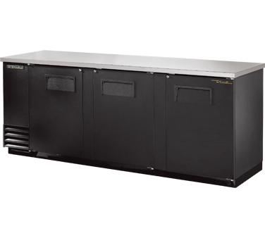 """New-Back Bar Cooler, three-section, 37"""" high, (152) 6-packs or (4) keg capacity, (6) shelves, condensing unit on left, stainless steel top, galvanized interior with stainless steel floor, black vinyl exterior, (3) full doors with locks, fluorescent interior lights, 1/3 HP, 115v/60/1, 9.1 amps, 7' cord, NEMA 5-15P, MADE IN USA, 3 years parts and labor, 5 years compressor warranty"""