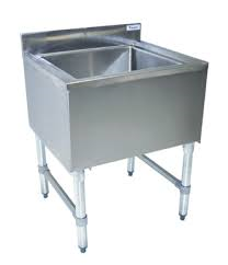 "NEW - Underbar Ice Bin, without lid, 24""W x 21""D x 32-1/2""H, 18/304 stainless steel construction, 18-1/2"" wide x 17"" front-to-back x 12"" deep bin, 76lb. capacity, insulated, galvanized legs & side crossbracing, plastic bullet feet, includes 1"" NPS drain with plug (BKDR-325CP), ice not intended for consumption, NSF"