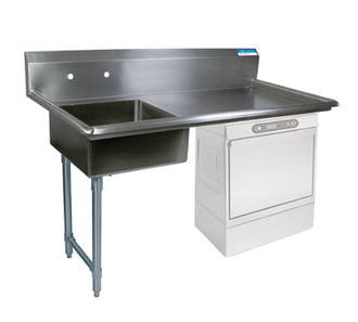 "NEW-Soiled Dishtable, undercounter, 60""W x 30""D x 46""H, comes in left or right operation, 18/304 stainless steel top, 10""H backsplash, 20"" x 20"" x 8"" deep pre-rinse sink on left, 8"" O.C. splash mount faucet holes, raised rolled edges on front & sides, 3-1/2"" basket drain included, galvanized steel legs & side bracing, adjustable high-impact corrosion-resistant feet, NSF"