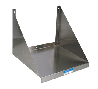 "NEW-Microwave Shelf, wall mount, 24""W x 20""D x 16-3/8""H, 18/304 stainless steel, 1-1/2"" mounting back lip, 15"" angle supports, solid base, mounting template included, NSF"