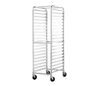 "NEW-Bun Pan Rack, round top, 20-1/4""W x 26""D x 70""H, aluminum tubing construction, front load, (20) 18"" x 26"" pan capacity, 5"" non-locking swivel casters, shipped Knocked Down, NSF"