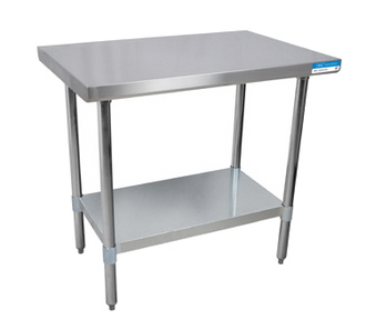"NEW-Work Table, 60""W x 30""D, 18/430 stainless steel top, with turndown edges on all sides, reinforced with channels, adjustable galvanized undershelf, 1-5/8"" dia. galvanized legs, adjustable high-impact corrosion-resistant feet, NSF"