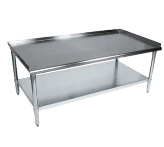 "NEW-Equipment Stand, 49""W x 30""D x 26""H, front rolled edge, 3 sided 2"" riser with hemmed edged, 18/430 stainless steel top reinforced with 1-1/2"" square tubing, galvanized undershelf & 1-5/8"" legs, NSF"