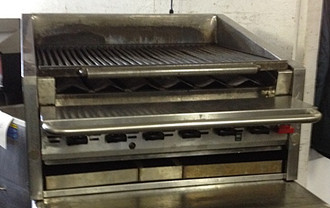 "USED-Magikitch'n Radiant Charbroiler, countertop, natural gas, 30""W x 18""H x 36""D, free floating round rod top grate with EZ tilt to front grease trough, stainless steel radiants, stainless steel on all sides"