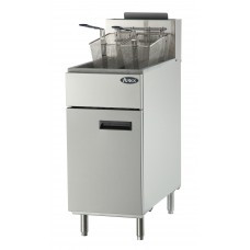 Heavy Duty Fryer, gas, floor model, 40 lb. capacity, (3) burners, standby pilots, 200°F- 400°F temperature range, self-reset high temperature limiting device, oil cooling zone seated in the bottom of the tank, stainless steel structure, adjustable stainless steel legs, 102,000 BTU, cETLus, ETL