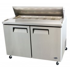 Sandwich/Salad Top Reach-In Refrigerator, two-section, self-contained refrigeration, 12.0 cu. ft. capacity, includes (12) 1/6 stainless steel pans, 33° to 45°F temperature range, (2) locking hinged self-closing doors, (2) adjustable shelves, ventilated refrigeration, automatic lighting & evaporation, air defrost, stainless steel interior & exterior, galvanized steel back, casters, front breathing side mounted refrigeration, 560 watts, 115v/60/1-ph, 6.5 amps, 1/3 HP, cETLus, ETL, CE