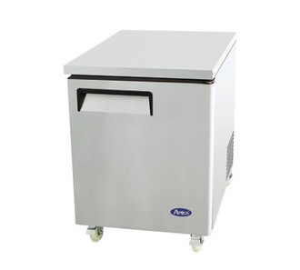 Undercounter Reach-In Freezer, one-section, self-contained refrigeration, 6.5 cu. ft. capacity, -8° to -0°F temperature range, (1) locking hinged self-closing door, (1) adjustable shelf, ventilated refrigeration, automatic evaporation, electric defrost, stainless steel interior & exterior, galvanized steel back, casters, rear mounted refrigeration, 350 watts, 115v/60/1-ph, 4.1 amps, 1/4 HP, cETLus, ETL, CE