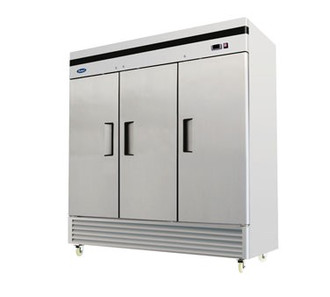 B-Series Reach-In Refrigerator, three-section, self-contained refrigeration, 71.0 cu. ft. capacity, 33° to 45°F temperature range, (3) locking hinged self-closing doors, (9) adjustable shelves, ventilated refrigeration, interior lighting, automatic evaporation, digital temperature control, air defrost, stainless steel interior & exterior, galvanized steel back, bottom mounted refrigeration, 650 watts, 115v/60/1-ph, 7.6 amps, 1/2 HP, cETLus, ETL, CE, ENERGY STAR®