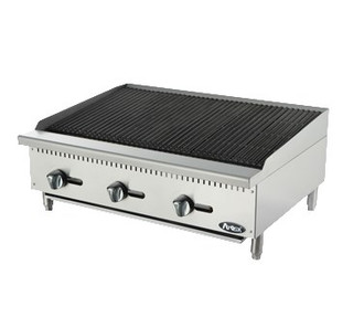 "Heavy Duty Radiant Charbroiler, gas, countertop, 36"", (3) stainless steel burners, standby pilots, stainless steel radiant plates, cast iron grill, independent manual controls, adjustable multi-level top grates, stainless steel structure, adjustable stainless steel legs, 105,000 BTU, cETLus, ETL"