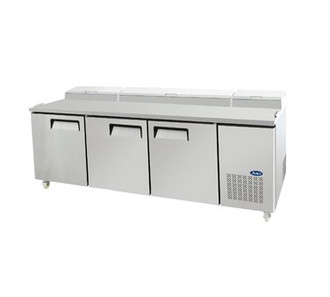 Refrigerated Reach-In Pizza Prep Table, three-section, self-contained refrigeration, 26.0 cu. ft. capacity, includes (12) 1/3 stainless steel pans, 33° to 38°F temperature range, (3) locking hinged self-closing doors, (3) adjustable shelves, ventilated refrigeration, automatic lighting & evaporation, air defrost, stainless steel interior & exterior, galvanized steel back, casters, side mounted refrigeration, backsplash, 650 watts, 115v/60/1-ph, 7.7 amps, 2/3 HP, cETLus, ETL, CE
