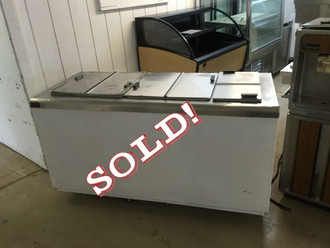USED Ice Cream Storage/Dipping Cabinet, 22.0 cu. ft., self-contained refrigeration, white enamel exterior, galvanized interior, seamless stainless steel top and flip lids, (14) can display & (11) can storage capacity, leveling legs, 1/3 hp, 115v/60/1, 7.3 amps, NEMA 5-15P, UL, cUL, NSF
