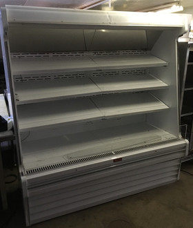 "Produce Open Merchandiser, 75""W, 78-1/2""H, endless design, (3) rows of lit shelves, 15"" product reflecting mirror, sloped end panels, 1"" gray bumper, (drain required), white exterior & interior, designed for remote refrigeration, R404a expansion valve included, remote condensing units & other hook ups are not included, 115v/60/1-ph, 4.0 amps."