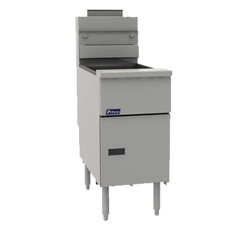 "PITCO Fryer, gas, tube fired stand alone model, 35 lb. oil capacity, millivolt control, removable basket hanger, includes (2) twin baskets, 9"" adjustable legs, stainless steel tank, front, door & sides, 70,000 BTU, ENERGY STAR®, CSA, NSF"