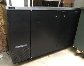"TRUE TBB-2 Back Bar Cooler, two-section, 37"" high, (88) 6-packs or (2) keg capacity, (4) shelves, condensing unit on left, stainless steel top, galvanized interior with stainless steel floor, black vinyl exterior, (2) full doors with locks, fluorescent interior lights, 1/3 HP, 115v/60/1, 9.1 amps, NEMA 5-15P, MADE IN USA."
