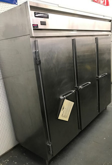"""Designer Line Wide Refrigerator, reach-in, 85-1/5"""" wide three-section, self-contained refrigeration, stainless steel exterior & interior, standard depth cabinet, wide full-height stainless steel doors, electronic controller w/digital display, 6"""" stainless steel legs, 1/2 hp, cETLus, NSF, Made in USA"""