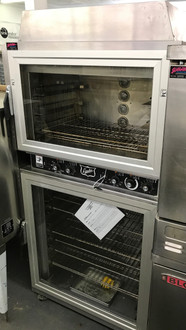 The Duke AHPO-6/18 Proofer Oven was developed for the need of consistent and uniform baking capabilities which provides high quality.  The Duke Proofer Oven utilizes Duke's unique directional convection airflow technology that provides even heat distribution and a uniform bake without the need for turning pans during the bake cycle.  This enhances the quality and consistency of baked products while reducing food waste/scrap and simplifying operating procedures. Low-profile oven won't block view of menu boards and will easily roll through a standard height door. Oven & proofer doors are field reversible with a drip channel to prevent water dripping on the floor. Full width doors on the oven and proofer help display and merchandise fresh baked goods. Lighted interiors merchandise freshly baked goods to customers. Accepts standard 1/2 size or full size sheet pans. 60 minute timer per section. 200°F - 450°F oven thermostat. Casters provide easy transportation of the unit. 208v/3ph
